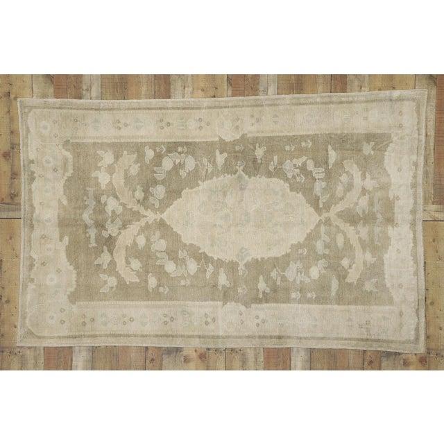 Textile Vintage Turkish Oushak Rug - 05'00 X 08'00 For Sale - Image 7 of 8