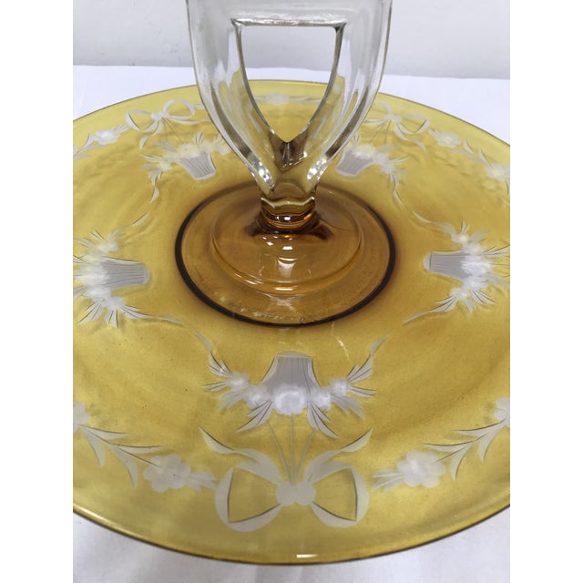1930s Depression Glass Yellow Flashed Etched Center Handle Sandwich Tray For Sale - Image 5 of 6