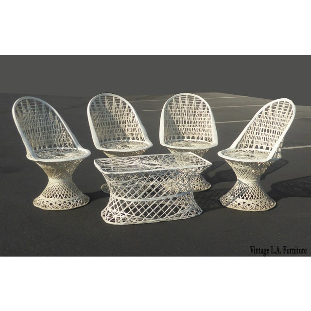 Four Spun Fiberglass White Chairs & Coffee Table by Russell Woodard Patio Set - Image 3 of 11