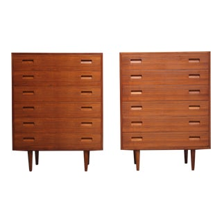 Pair of Teak Highboy Chest of Drawers by Poul Hundevad For Sale