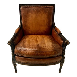 Councill Leather French Style Arm Chair For Sale