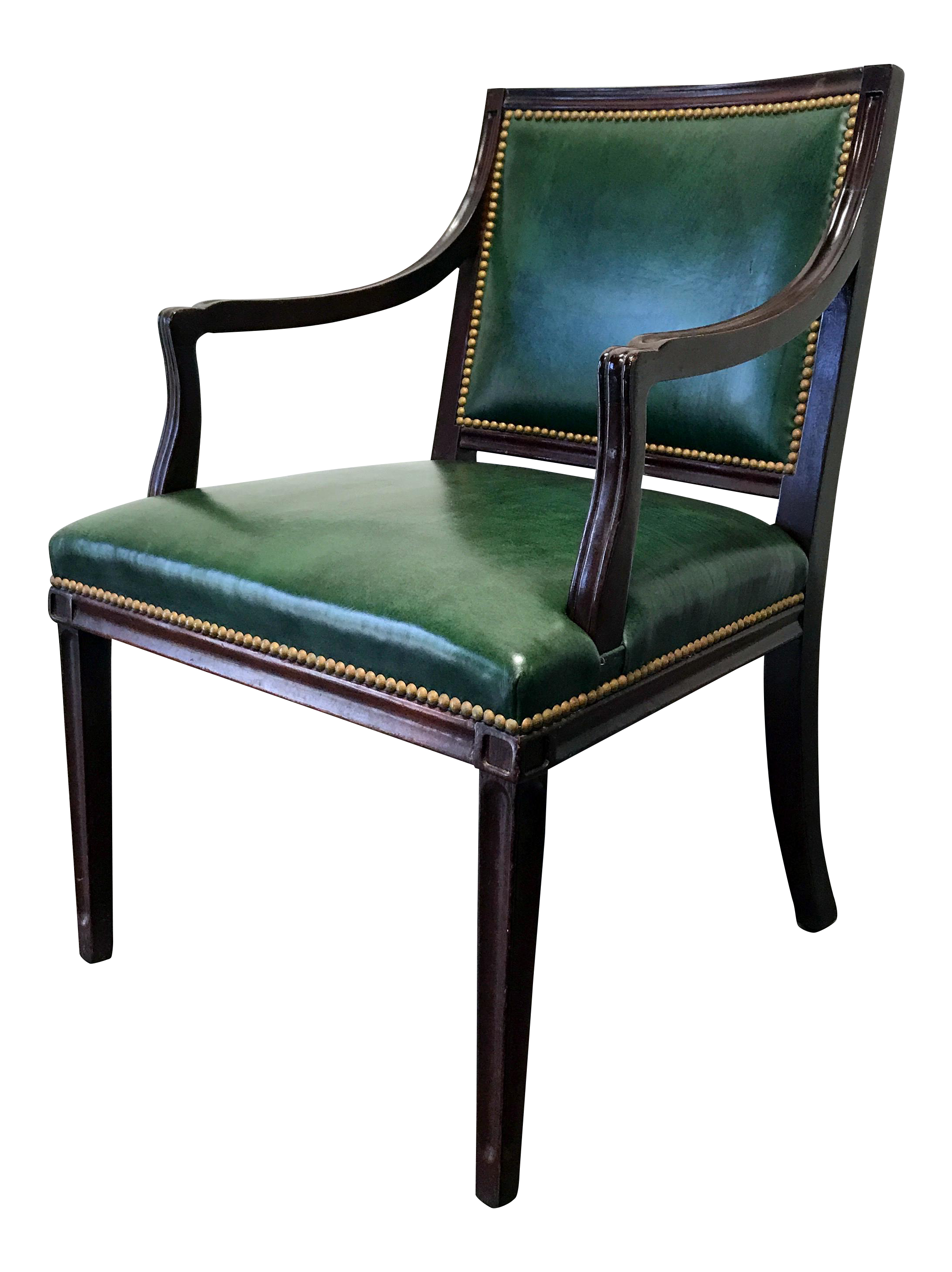HANCOCK U0026 MOORE Green Leather Banker Accent Chair W Nailhead Trim