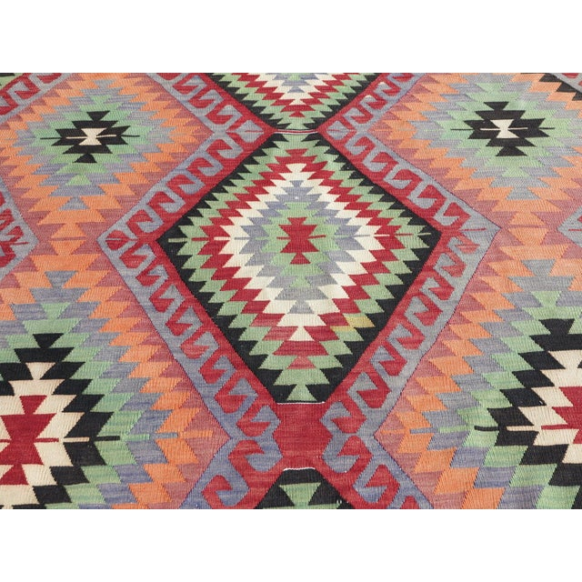 "Vintage Handwoven Turkish Kilim Rug - 6'4"" x 9'6"" - Image 5 of 8"