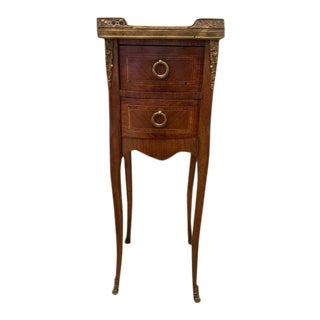 19th Century French, Two Drawers Nightstand With Marble Top For Sale