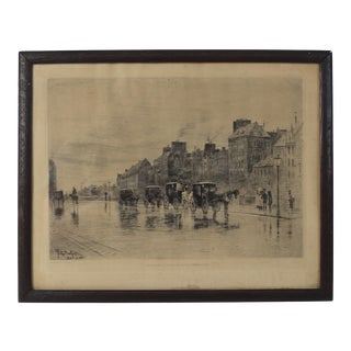"1800s Felix Hilaire Buhot ""A Winter Morning"" Antique French Etching Signed Framed Print For Sale"