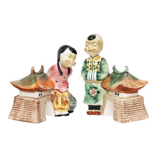 Mid-Century Chinoiserie Planter Figurines- a Pair For Sale