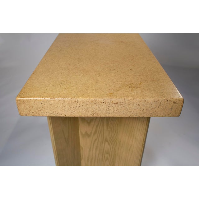 1950s Paul Frankl Bleached Oak & Cork Console Table for Johnson Furniture For Sale - Image 10 of 11