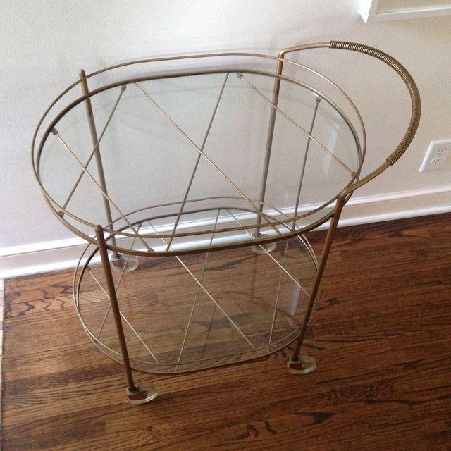 Vintage Brass & Glass Bar Cart - Image 2 of 6