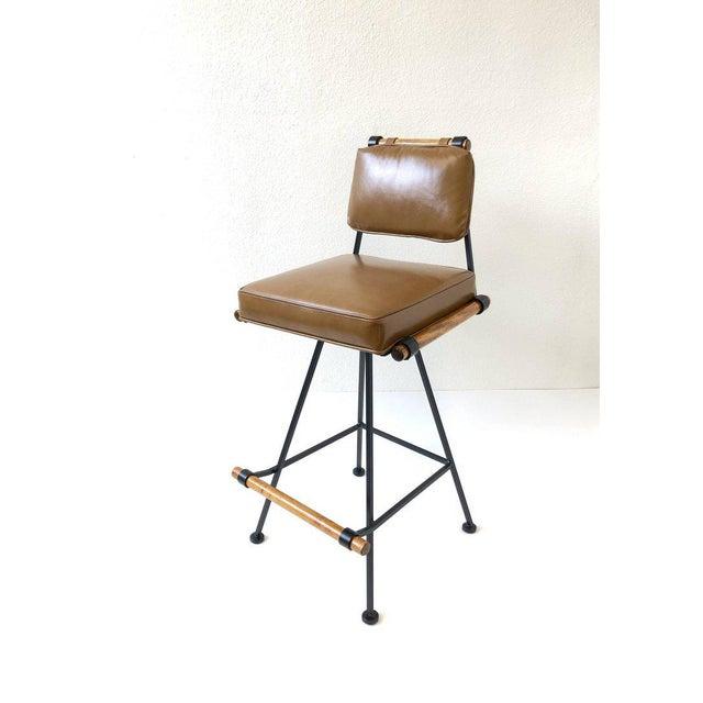 Black Set of Three Swivel Barstools For Sale - Image 8 of 10