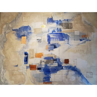 Veiled Paths Abstract Architecture Mixed-Media Painting For Sale