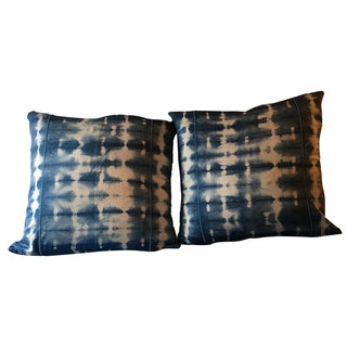 Hand Dyed Indigo Shibori Pillowcases - a Pair For Sale