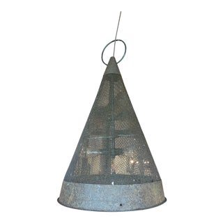 Vintage Iron Mesh Funnel Pendant Light For Sale