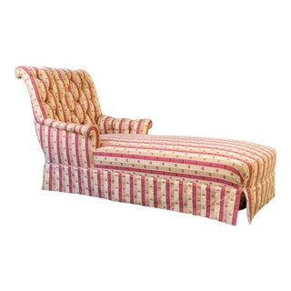 Large French 19th Century Napoleon III Chaise Longue in Striped Patterned Fabric For Sale