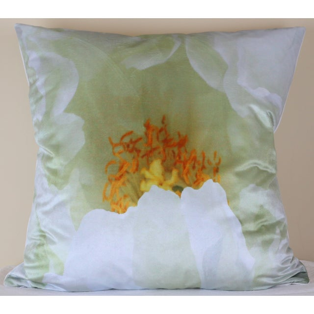 White Tree Peony Bloom in Rodin Museum Garden Paris Photo Pillow For Sale - Image 13 of 13
