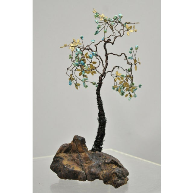 Copper Wire Bonsai Tree Brass Leaves Stone Fruit Sculpture Chairish