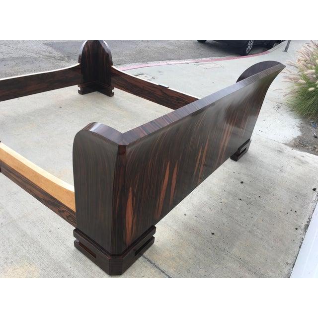 1980s Art Deco Cal King Bedframe in Macassar & Birdseye Maple For Sale - Image 9 of 13
