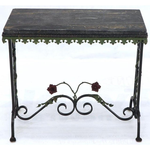 Metal Black Marble Top Ornate Wrought Iron Side Console Table For Sale - Image 7 of 13