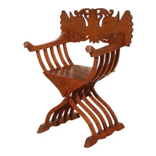 Anglo-Indian Savonarola-Type Brass Inlaid Armchair For Sale