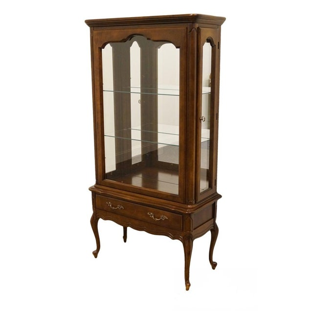 Hammary Solid Cherry Louis XVI Country French Lighted Curio Display Cabinet For Sale - Image 13 of 13