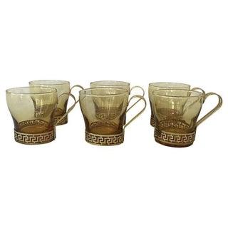 Vintage Greek Key Mugs - Set of 6 For Sale
