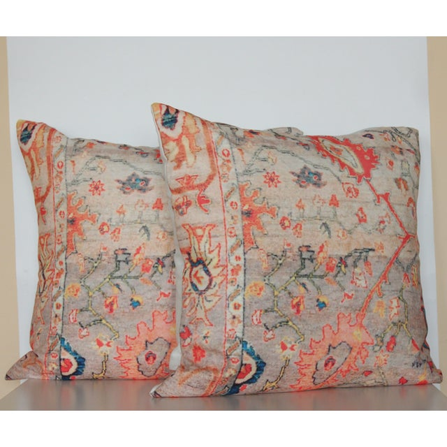 Multi-Colored Rug Print Pillow Covers - A Pair - Image 2 of 7