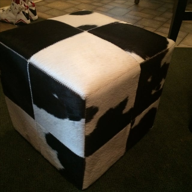 Mid-Century Genuine Cowhide Accent Chair & Ottoman - Image 10 of 11
