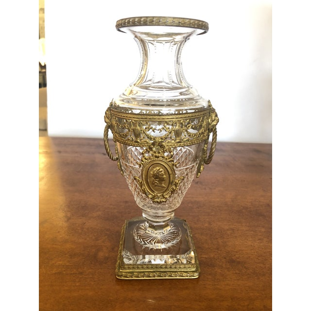 Bronze French Cut Crystal and Ormolu Mounted Vase For Sale - Image 8 of 8