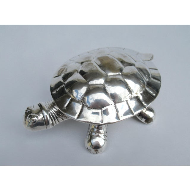 Vintage 1960s-70s; Silver plated over brass, lidded turtle-shaped, keepsake box, or accent piece. A delightful inclusion...