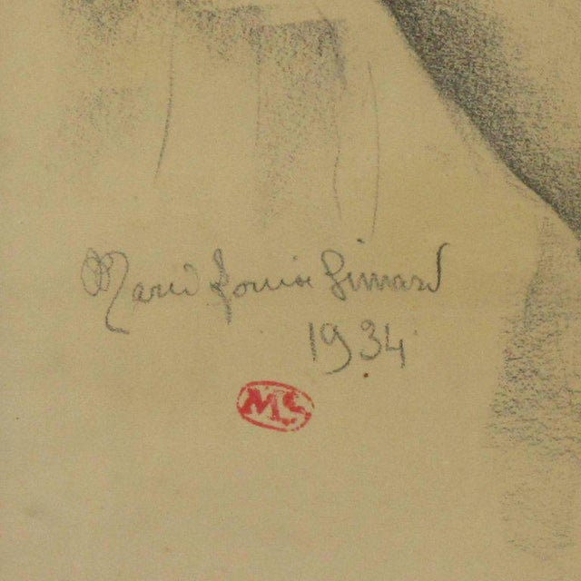 1934 French Marie Louise Simard Nude Female Study Pencil Drawing - Image 3 of 10