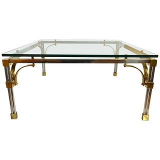 John Vesey Style Mixed Metal Square Cocktail Table For Sale