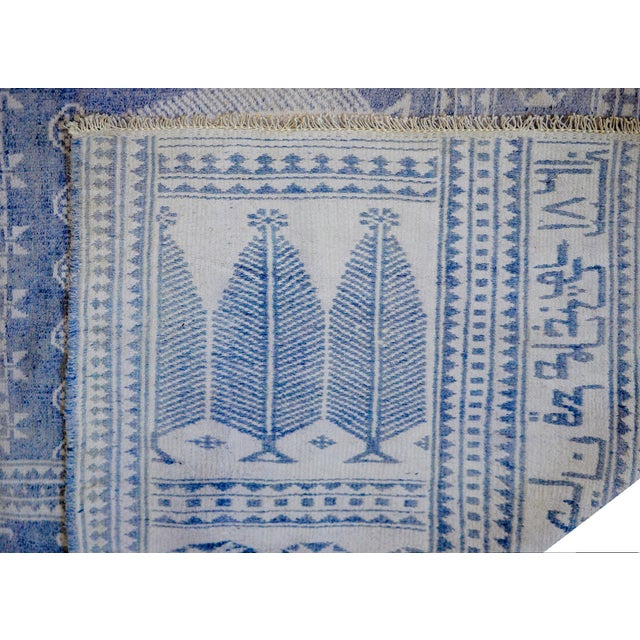 Blue Vintage Blue and White Yadz Kilim For Sale - Image 8 of 9
