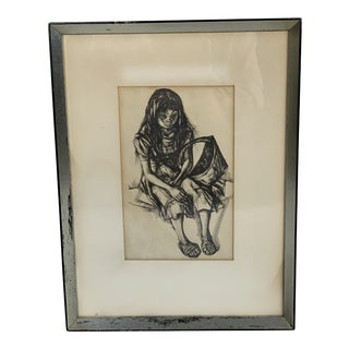 1960s Vintage Girl With Big Eyes and a Basket Original Drawing For Sale