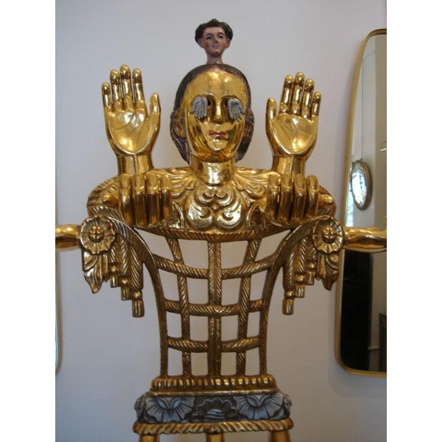 "Gold Leaf 5-foot Tall Gilt Candelabrum by Pedro Friedeberg ""Venus of Galveston"" For Sale - Image 7 of 7"