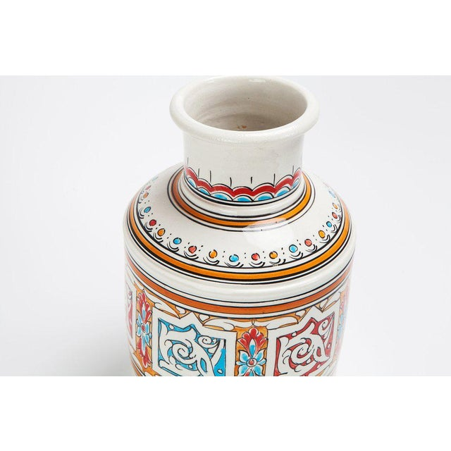 Boho Chic Moroccan Multicolor Handcrafted Ceramic Vase For Sale - Image 3 of 3