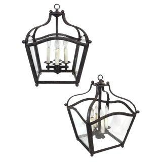 Pair of Iron Hanging Lanterns For Sale