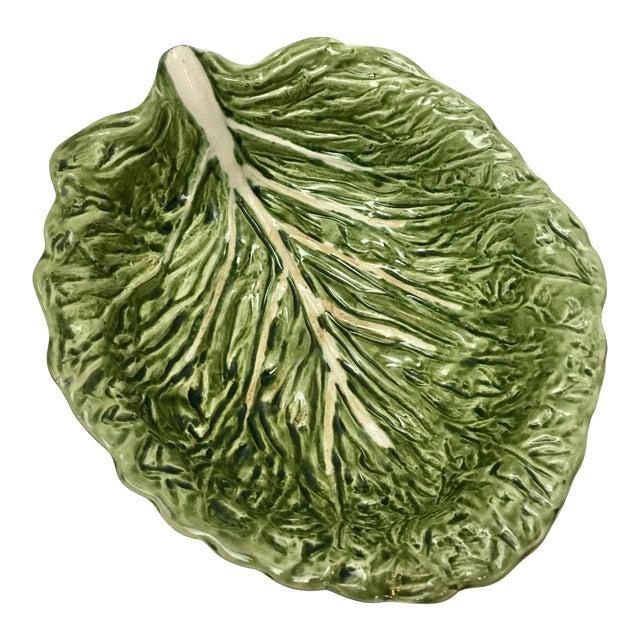 Antique Majolica Lettuce Bowl For Sale