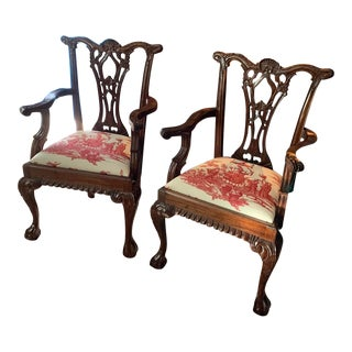 Chinese Chippendale Arm Chairs With Schumacher Seats - Set of 2 For Sale