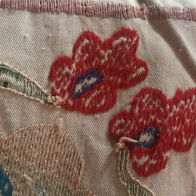 Vintage Colorful Hand Embroired Suzani Textile Bukhara Uzbekistan For Sale - Image 9 of 10