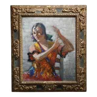 "1933 J. Barry Greene ""Gipsy Flamenco Dancer"" Oil Painting For Sale"