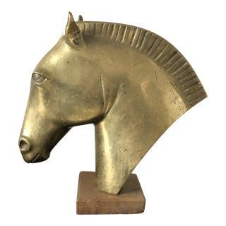 Vintage Mid-Century Albert Hirtz Brass Horse Head Sculpture For Sale