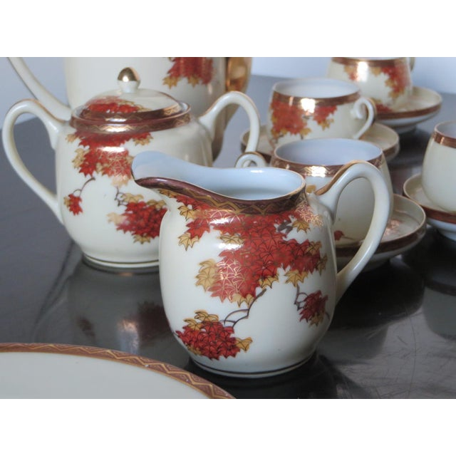 Vintage Chinese Porcelain Espresso Cups & Saucers, Coffee Pot, Creamer, Sugar Bowl & Dessert Plate - Service for 9 - Image 5 of 10