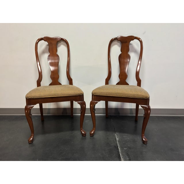 Solid Cherry Queen Anne Dining Side Chairs by Fancher - Pair 2 For Sale - Image 9 of 9