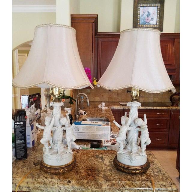 1980s Vintage Blanc De Chine Putti Lamps - A Pair For Sale - Image 9 of 10