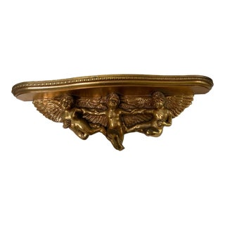 French Italian Cherub Console Wall Shelf For Sale
