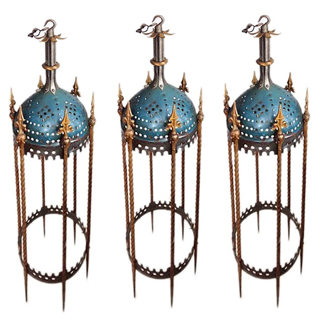 1930s Lanterns - Vintage Rambusch Gothic Ceiling Fixtures - Set of 3 For Sale - Image 5 of 5