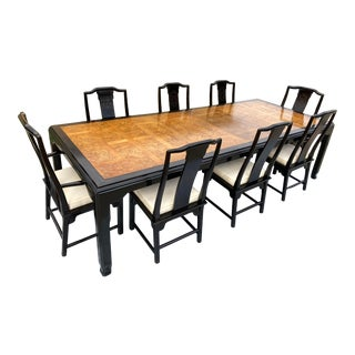 Mid-Century Modern Black Lacquer & Burlwood Chinoiserie Dining Set Raymond Sobota for Century Furniture - 9 Pieces For Sale