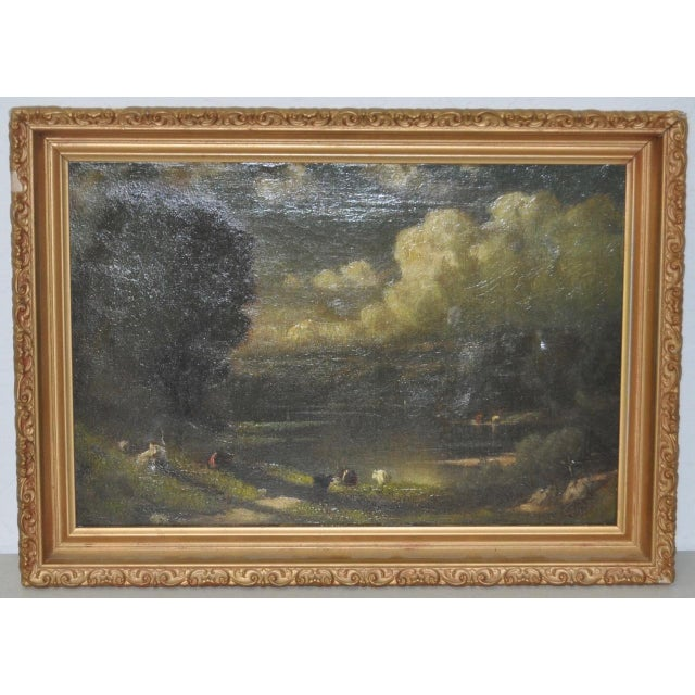 19th C. Country Landscape w/ Cows & Figure For Sale - Image 9 of 9
