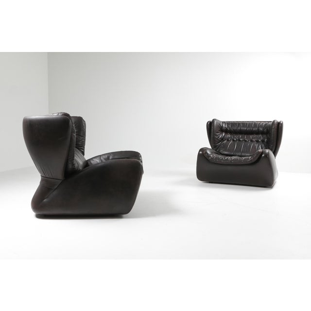 Chocolate Dark Brown 'Pasha' Lounge Chairs by Durlet - 1970's For Sale - Image 8 of 13