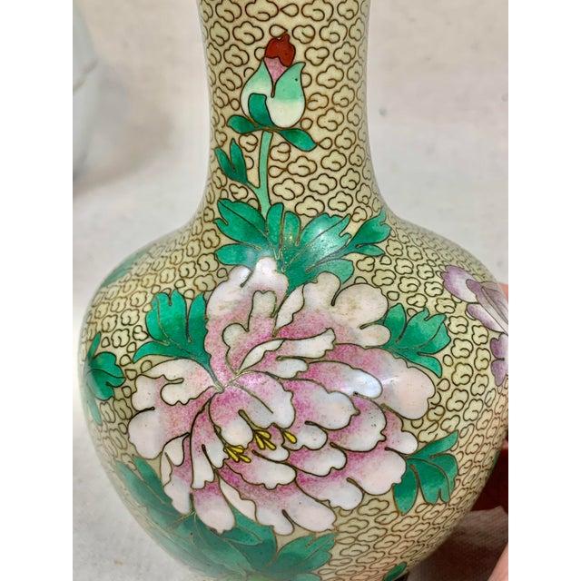 Metal Vintage Floral Cloisonne Vase For Sale - Image 7 of 10