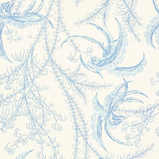 Sample - Schumacher Ocean Toile Wallpaper in Delft For Sale